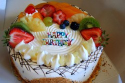 Birthday cake with fruits