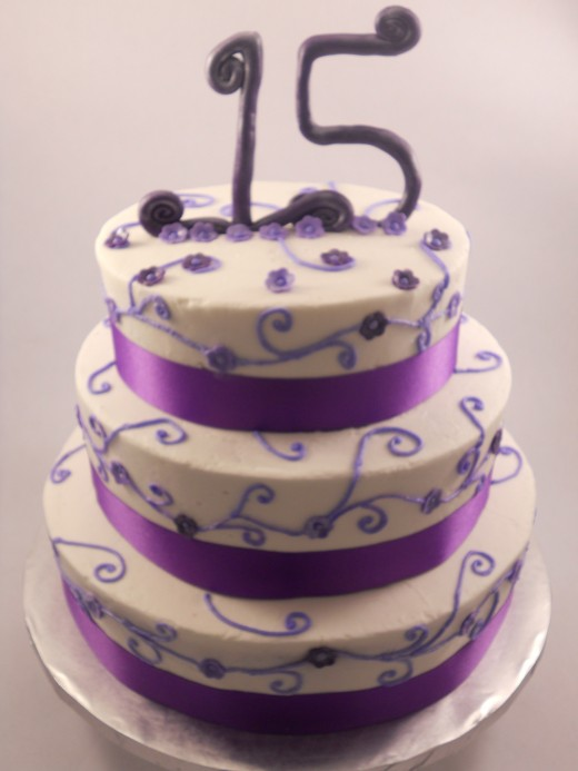 Violet quinceanera cake