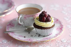 Black Forest cupcake with tea