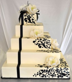 Black and white cricut wedding cake