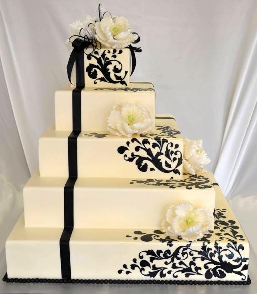 Black and white cricut wedding cake