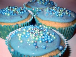 Blue cupcakes for sea theme