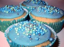 Blue cupcakes for sea theme