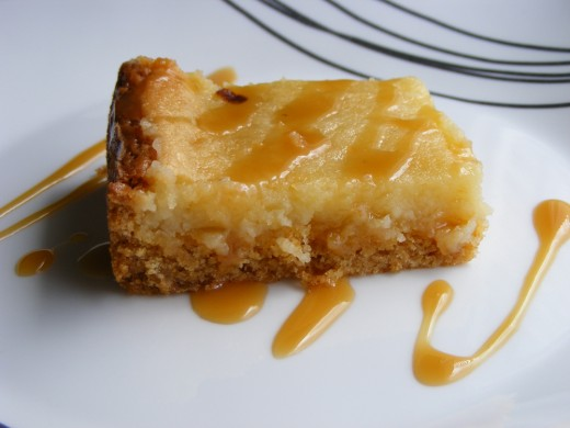 Gooey butter cake with caramel
