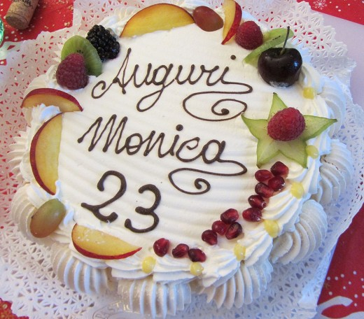 Italian cream cake with fruits