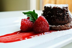 Lava cake with raspberry