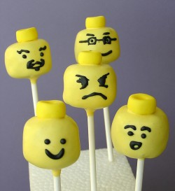 Lego heads cake pops