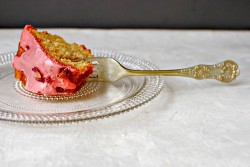 Piece of rhubarb cake