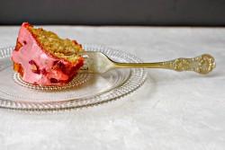 Piece of rhubarb cake
