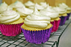 Purple vanilla cupcakes