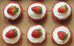 Triple strawberry cupcakes