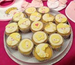 Yellow baby shower cupcakes