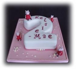 Second birthday Peppa pig cake