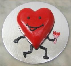 Smiling heart cake