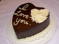 Chocolate heart shape cake for Valentine's day