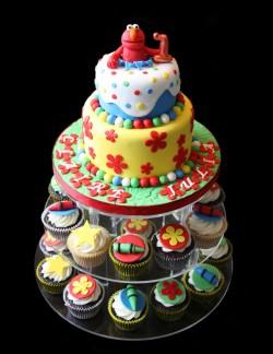 2 tier Elmo cake