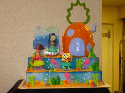2 tier square Spongebob cake