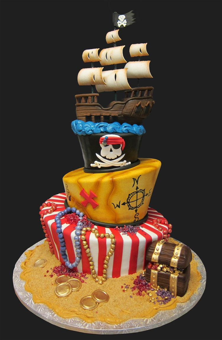 3 Tier Pirate Cake With Ship