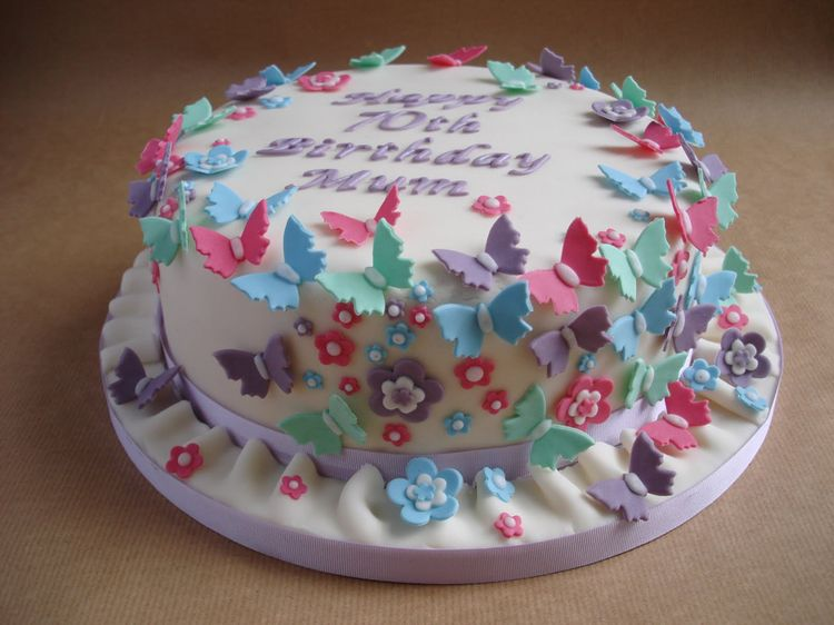 70th birthday cake with butterflies