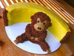 Banana cake with monkey decoration