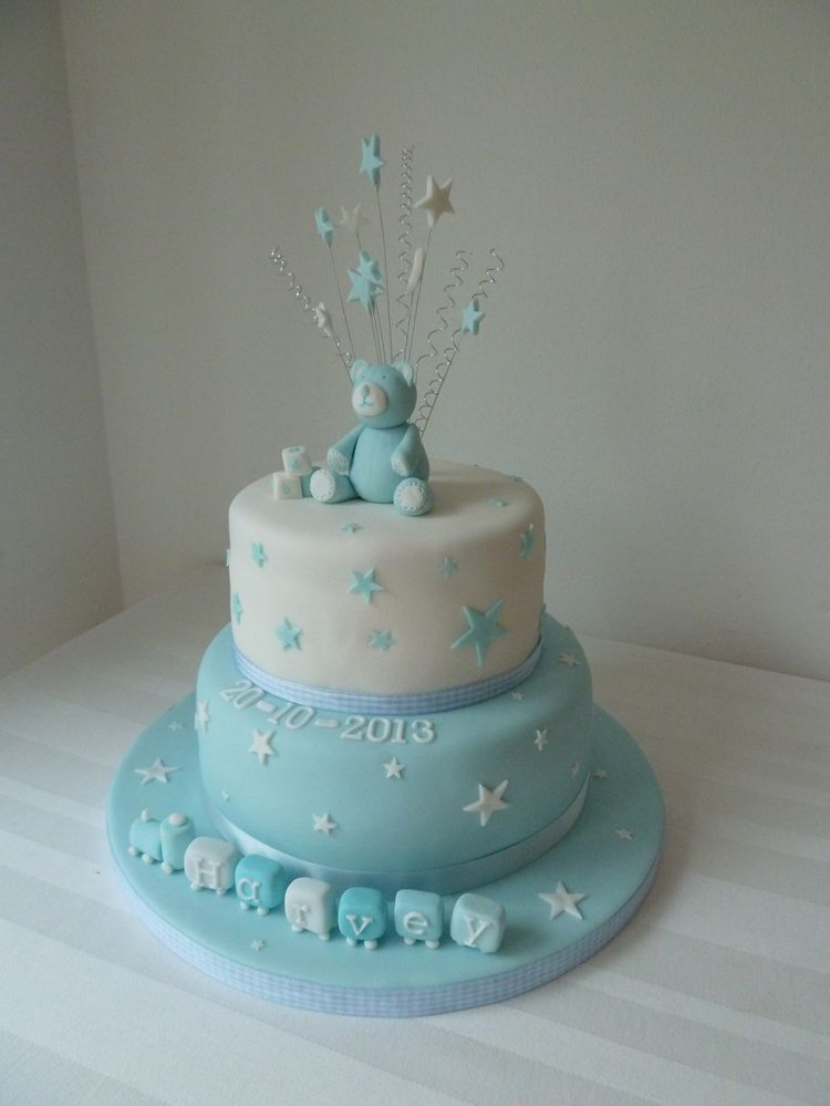 Blue And White Christening Cake