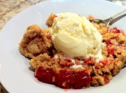 Dump cake with ice cream