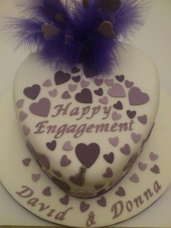 Engagement cake with hearts