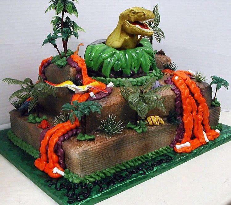 2 tier cake with dinosaur