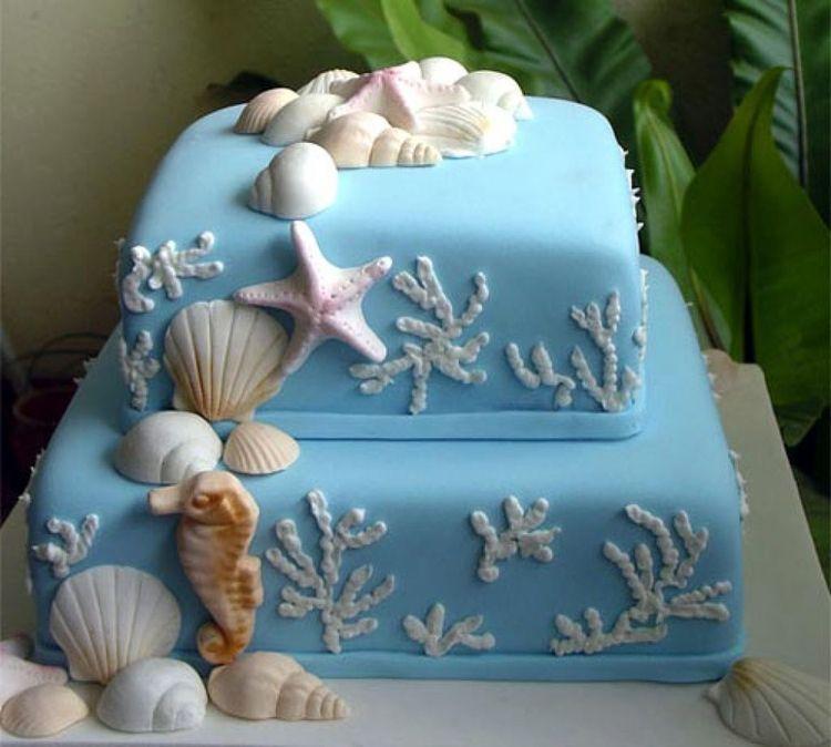 Cake Decoration Sea Theme : 2 tier square sea themed cake