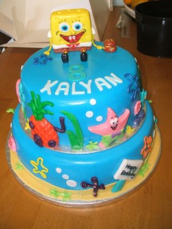 2 tiers Spongebob cake