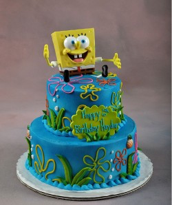2tiers cake with Spongebob