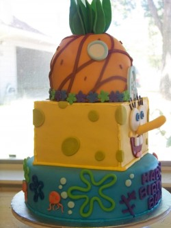 3 tier Spongebob cake
