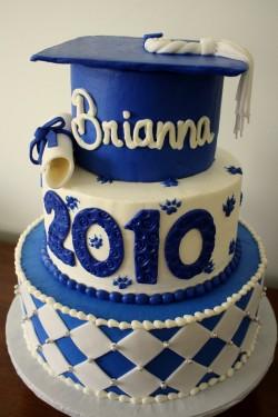 3 tiers blue graduation cake