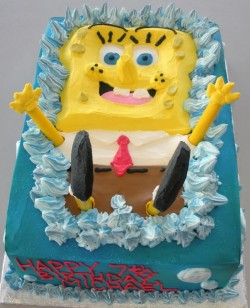 7th birthday square Spongebob cake