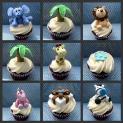Baby shower cupcakes with animals