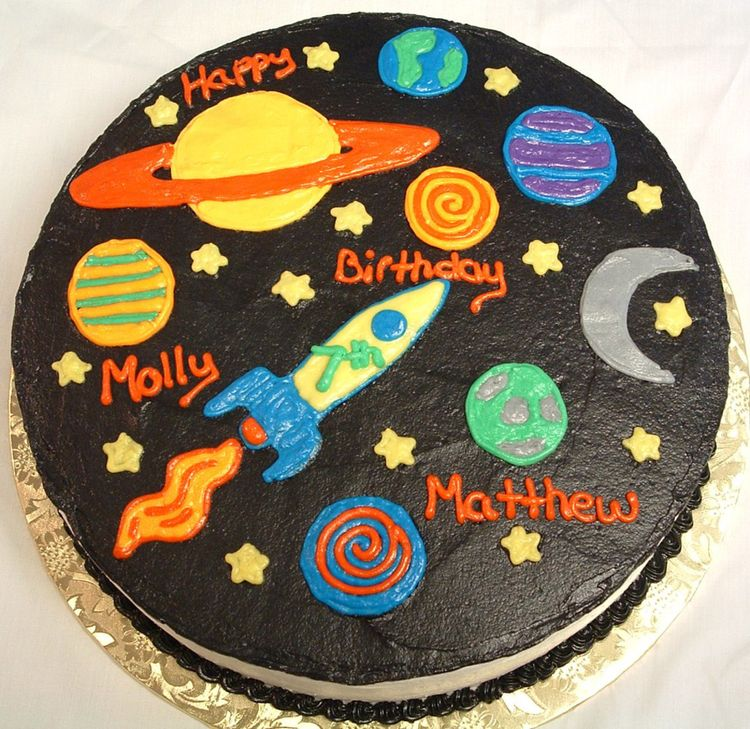Birthday cake universe for Cake decorations outer space