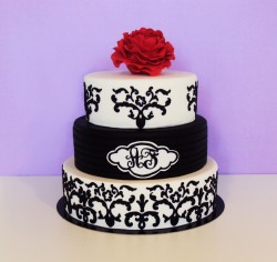 Black cricut wedding cake