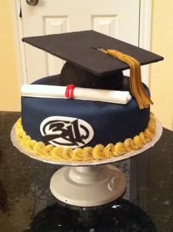 Black graduation cake