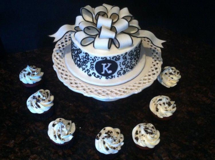 black and white bridal shower cake