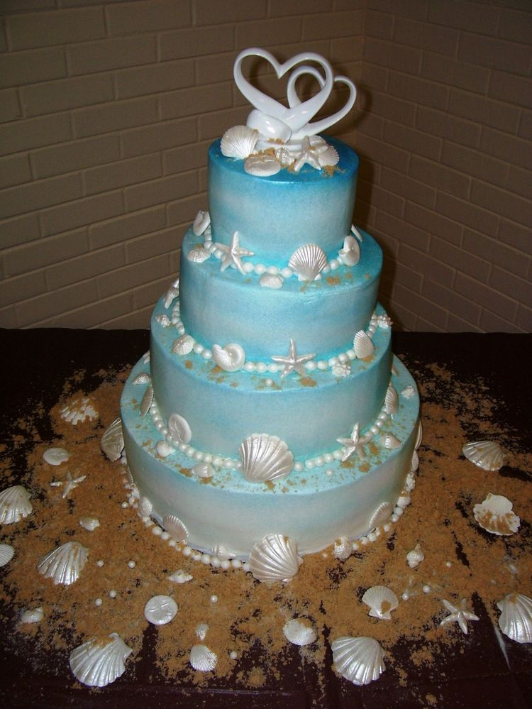 blue beach themed wedding cakes. Black Bedroom Furniture Sets. Home Design Ideas