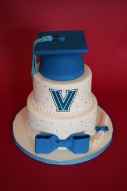 Blue graduation cake