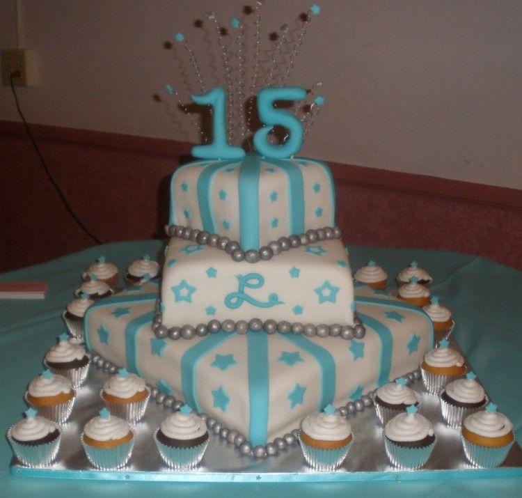 Blue quinceanera cake