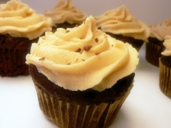Chocolate cupcakes with peanut butter