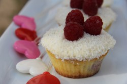 Coconut and raspberry cupcake