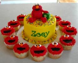 Elmo cupcakes and cake