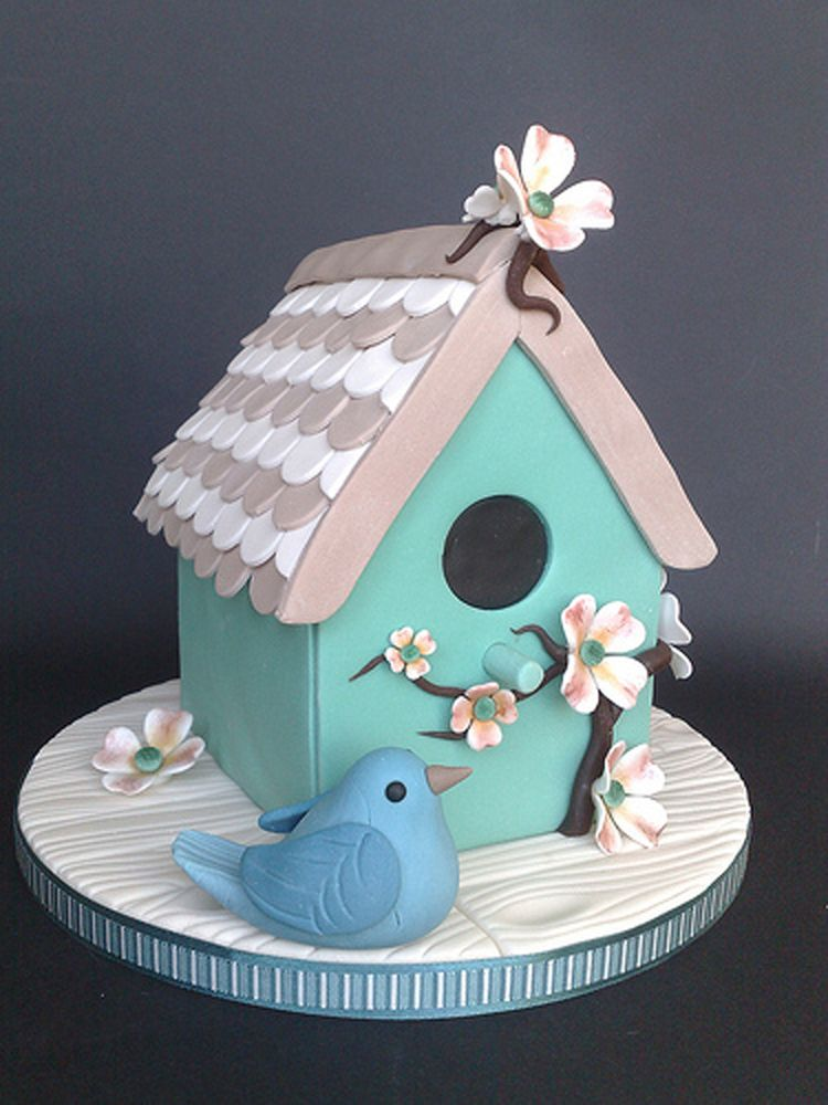 Cake With Fondant Bird : Fondant bird house cake