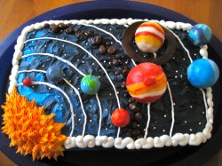 Square cake with planets
