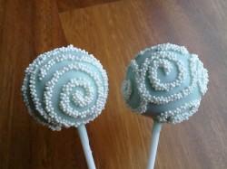 Swirl christening cake pops