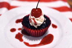 Tasty black forest cupcake