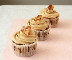 Three peanut butter cupcakes